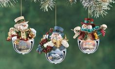 Snowmen Christmas Decorations Branch New Year Christmas Holiday Close Up