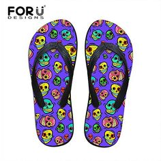 b1d0a1ec914d60 FOR U DESIGNS Kawaii Cartoon Skulls Pattern Summer Outdoor Indoor Womens  Ladies Casual Flip Flops SandalsSize 5   Continue to the product at the  image link.