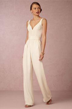 the perfect second, or courthouse wedding look for the bride | Aurore Bridal Jumpsuit from BHLDN