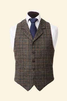 Grey Multicheck Shetland Tweed Edward Waistcoat Walker Slater Tweed Specialists