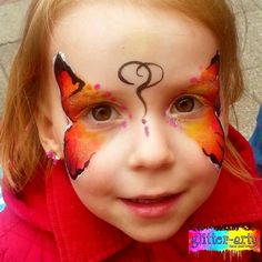Red & Orange Butterfly face painting by Glitter-Arty Face Painting, Bedford, Bedfordshire Butterfly Face Paint, Orange Butterfly, Girl Face Painting, Glitter Face, Henna Artist, Face Art, Girly, Pretty, Red