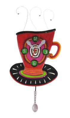 Amazon.com - Allen Designs WAKE UP CUP Pendulum Wall Clock Coffee