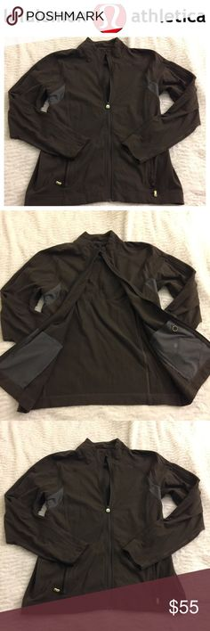 """Lululemon brown men's jacket L Lululemon athletica men's large jacket   In pre loved condition. Brown. 23"""" 1/2 across the top. 20"""" from underarm down. Please compare measurements to your before buying or offering so it can fit. Does not have the inside size label. All sales are final :) lululemon athletica Jackets & Coats Performance Jackets"""