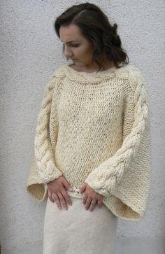 Ručně předený vlněný elegán Natural / Zboží prodejce Mia Moo   Fler.cz Weaving, Pullover, Knitting, Crochet, Nature, Sweaters, Fashion, Ponchos, Closure Weave