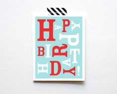 Happy Birthday Card Typography by The Paper Cub Co.