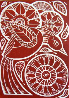 Flight Original Lino Cut Print Red - Folksy