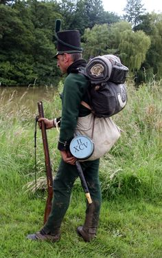 """95th Rifles.  Shows the size of the haversack, much larger than usually shown.  Surviving haversacks are 21"""" by 12""""."""