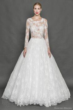 francesca miranda fall 2017 bridal long sleeves scoop neckline heavily embellished bodice lace elegant a  line wedding dress illusion back sweep train (belle) mv
