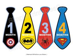 Do It Yourself PRINTABLES 12 Designs for Monthly Stickers or Iron Ons Boy Super Heros Tie Collection