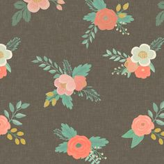 For girls' outdoor TeePee/Tent: Sweet Floral in Warm Gray Linen fabric by willowlanetextiles on Spoonflower - custom fabric