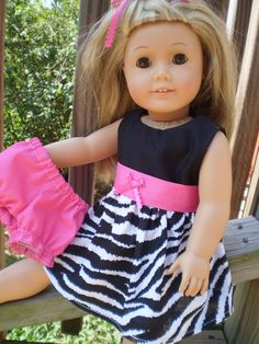 Zebra pink dress with panties fit 18 Doll by sassydollcreations, $11.99