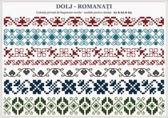 Semne Cusute: traditional Romanian motifs - OLTENIA, Dolj-Romanati Folk Embroidery, Cross Stitch Embroidery, Embroidery Patterns, Knitting Patterns, Cross Stitch Borders, Cross Stitching, Cross Stitch Patterns, Romanian Lace, Beading Patterns