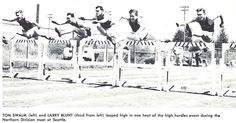 Oregon track athletes Tom Swalm and Larry Blunt compete in Seattle in 1953. From the 1953 Oregana (University of Oregon yearbook). www.CampusAttic.com