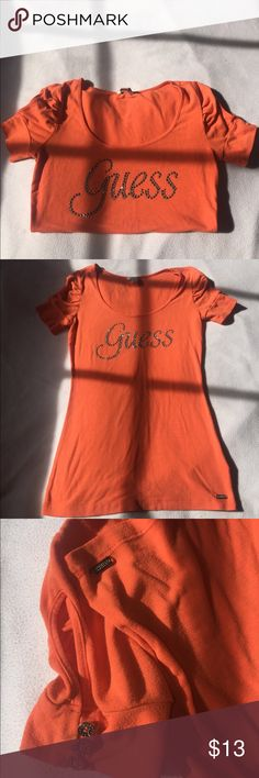 Guess Orange short-sleeve shirt used but still really cute. Guess Tops Tees - Short Sleeve