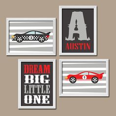 RACE CARS Wall Art Boy Nursery Art Red Black Gray BOY por TRMdesign