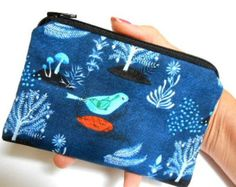 Blue Coin Purse Little Padded Eco Friendly Zipper by JPATPURSES