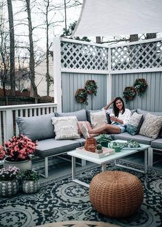 Decorating an Outdoor Living Space for Spring/Summer @BedBathBeyond, grey and white deck stain