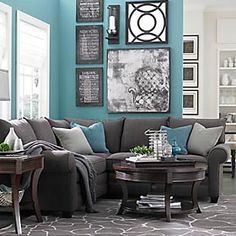 Love The Greyed Down Turquoise, Paired With A Soft, Orangy Coral Accent And  Some Lime Rind Green. Gray Sectional ...