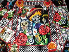 Section of Day of the dead quilt - www.mexicansugarskull.com