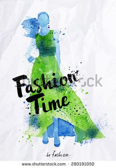 Watercolor poster lettering fashion time drawing in vintage style on crumpled paper.