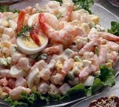 Shrimp Salad/ 1 pound shrimp, peeled and deveined 2 hard-cooked eggs, chopped cup celery, thinly sliced cup mayonnaise 1 teaspoon Dijon mustard teaspoon onion powder salt and pepper to taste Shrimp Salad Recipes, Seafood Salad, Salad Recipes For Dinner, Healthy Salad Recipes, Healthy Foods To Eat, Seafood Recipes, Food Shrimp, Food Network Recipes, Food Processor Recipes