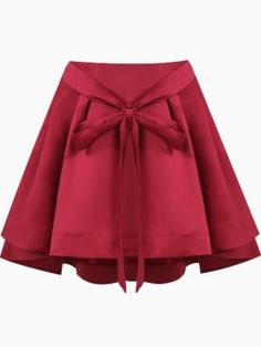 Shop Red Bow Front Structured Pleated Skirt with Extreme Dip Back from choies.com