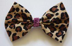 Leopard Print Hair Bow with Pink Sparkle by MyStitchandKitsch, £3.99