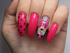Dots mickey minnie Disney nails pink Disney Nails, Pink Nails, Dots, Beauty, Stitches, Pink Nail, The Dot, Beauty Illustration, Polka Dots