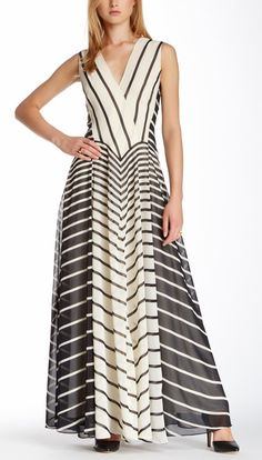 Halston Heritage Striped Evening Gown