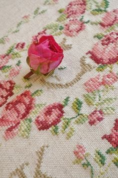 Embroidered Roses, Rose Embroidery, Cross Stitch Embroidery, Little Rose, Rosy Pink, Cross Stitch Rose, Thread Art, Romantic Flowers, Cross Stitch Alphabet