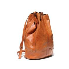 Mocha Brown Italian Leather Sling Backpack Bag by TanakaVintage