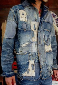 Is This Fashion or Is This is ART_Kapital Denim Japan_Super Distressed Denim Shirt ( what is this???l