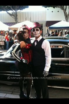 Coolest Home Made Female Pinup And Male Groom Day Of The Dead Couple Costume