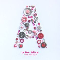 Personalised Baby Girl Button Letter Artwork