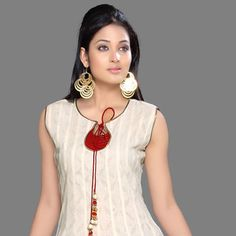 Cream and Red Cotton Jacquard Anarkali Churidar Kameez