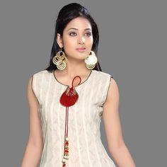 Cream and Red Cotton Jacquard Anarkali Churidar Kameez
