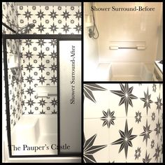 How to Paint a Fiberglass Shower Surround to Look Like Tile Bathtub Shower, Diy Shower, Shower Tiles, Shower Tile Paint, Bathtub Surround, Shower Surround, Fiberglass Shower Enclosures, Tub Insert, Shower Makeover