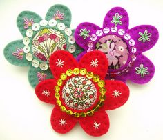 felt embroidered brooches