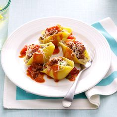 Makeover Easy Beef-Stuffed Shells Recipe from Taste of Home -- shared by Blair Lonergan of Rochelle, Virginia