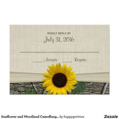 Sunflower and Woodland Camoflauge Response Card