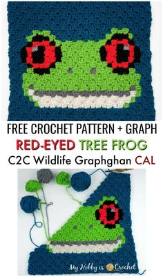 Red-eyed Tree Frog Square Wildlife Graphghan CAL Block 17 Red-eyed Tree Frog Square Wildlife Graphghan CAL Block 17 Sylvia Dreyer dreyersylvia h keln The Red-eyed Tree Frog hellip Crochet Pixel, Crochet Motifs, Crochet Afghans, Crochet Frog, Free Crochet, Graph Crochet, Easy Knitting Projects, Crochet Projects, Manta Animal