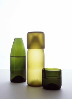 I love having a water carafe by my bed - this artecnica one is gorgeous, and made of recycled wine bottles.