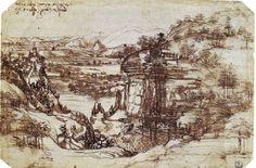 800px Study of a Tuscan Landscape - Leonardo da Vinci Resimleri