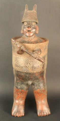 MesoAmerica; Nayarit; Male anthropomorphic figure: warrior; Ceramic; Period: Early Formative to Early Classic aC-300/500 200 AD