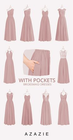 Shop our collection of pockets bridesmaid dresses & bridesmaid gowns at Azazie. Discover pockets bridal party dresses that flatter every body & style. Dusty Rose Bridesmaid Dresses, Dusty Rose Dress, Bridesmaid Dress Colors, Wedding Bridesmaids, Flattering Bridesmaid Dresses, Burgundy Bridesmaid, Bridesmaids Gowns With Sleeves, Pink Brides Maid Dresses, Royal Blue Bridesmaids