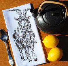 Set of Four Dark Brown Goat Cotton Napkins $24 Click Here: https://www.etsy.com/listing/205192375/dark-brown-goat-cotton-napkins-screen?utm_source=Pinterest&utm_medium=PageTools&utm_campaign=Share