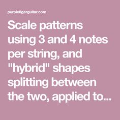 "Scale patterns using 3 and 4 notes per string, and ""hybrid"" shapes splitting between the two, applied to major and minor scales."