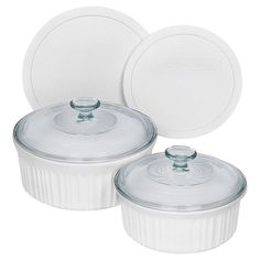 The recipe for a great dish starts, surprisingly, with a great dish! CorningWare French White bakeware proves that when it comes to food preparation, few things are more convenient than baking and serving in one dish. With its classic, fluted design, French White oven-to-table bakeware imparts a traditional elegance that is a perfect complement to any decor. And the included plastic lids make it easy for storing any leftovers once you're done. Versatile yet stylish, it is simple...from start…