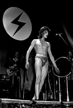 David Bowie on stage in Scotland during the Aladdin Sane tour, 1973