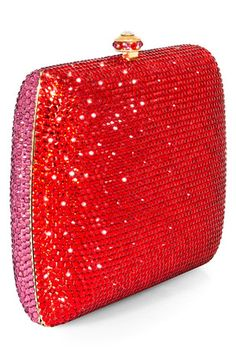 Dolly Lily Sage Crystal Evening Clutch in Red and Pink